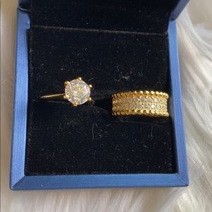 Gold plated sterling silver ring set new in box